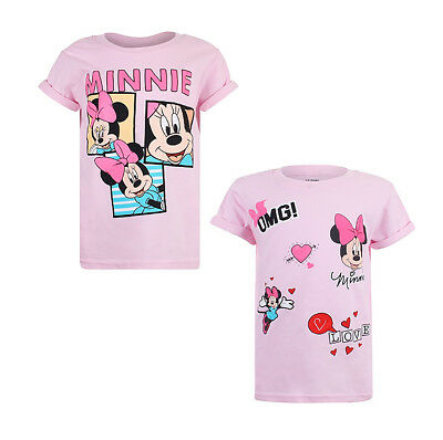 Disney Minnie Mouse - PACK OF TWO - Girls Pink T-Shirts - Love OMG Hearts