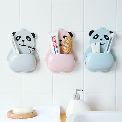 Cute Animal Panda Toothbrush Holder Suction Cup Toothpaste Bathroom Storage Rack