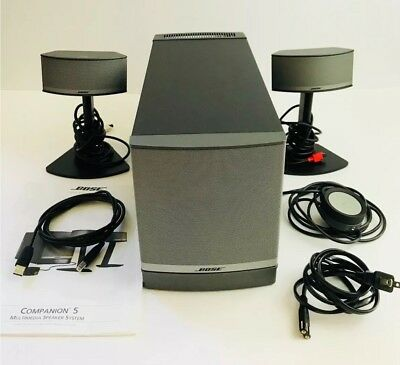 Bose Companion 5 Multimedia Speaker System Bose Deep Bass Sound Guaranteed Mint