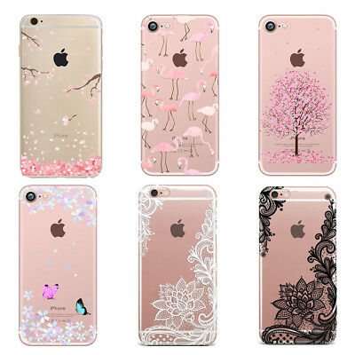 Ultra-Thin Flower Mandala Flamingo Print Clear Case Cover For iPhone XR 8 7 6 XS