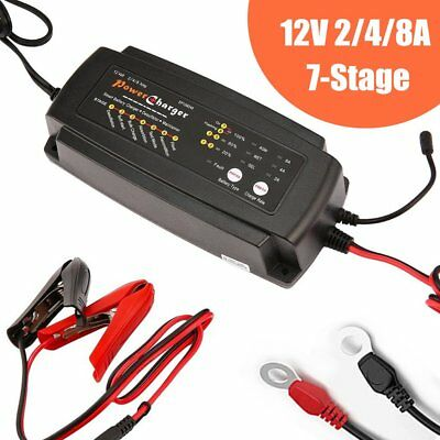 12V 2/4/8A 7-Stage 3-in-1 Smart Waterproof Battery Charger for Car Motorcycle TX