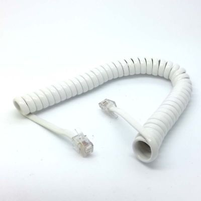 100x White flexible 1.8M Male RJ9 Telephone Handset Phone Extension Cord Cable