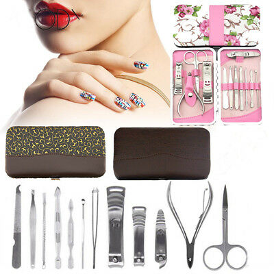 12pcs women Men's Manicure Kit Set Stainless Cuticle Nail Clippers Travel Case