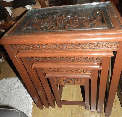 Carved Nest Of Four Tables With Glass Tops, 1950's