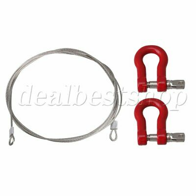 1:10 1:8 1:18 RC Crawler Steel Trailer Wire Rope Tow with Hooks Red 80cm