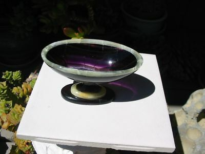 Beautiful, Elegant, Handcarved, PURPLE FLUORITE & WHITE ONYX Bowl** Must See!