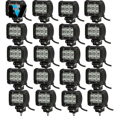 20PC 4inch LED Work Light Bar 360W Flood Beam For JEEP ATV Offroad Driving Lamp