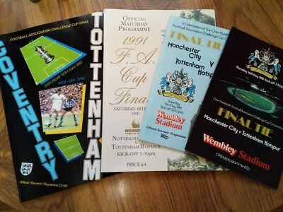 "FA Cup Final Programmes Tottenham Hotspur ""81 plus Replay, ""87 ""91 Mint Con"