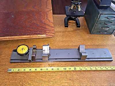 "Bench Micrometer Precision Gage Fixture 20"" X 3"" Federal Indicators V Blocks"