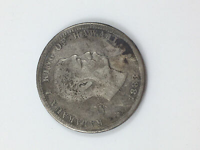 1883 Hawaii Silver 25 Cents Coin (estate) $0.99