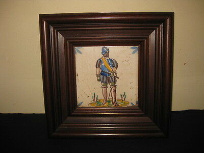 Antique Portugal Spain Tile Columbus America Discovery Cortes Soldier Rare