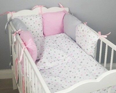 8 pc cot /cot bed bedding sets PILLOW BUMPER + CASES pink grey stars white