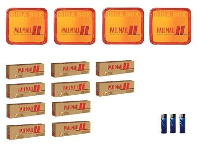 4 x Pall Mall Allround Red Mega Box Volumentabak 210g, 2000 Extra-Hülsen ,3 Feue