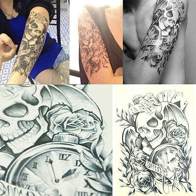Temporary Tattoo Body Arm Skull Stickers Removable Waterproof Black Large WF