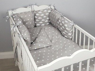 8 pc cot /cot bed bedding sets PILLOW BUMPER + CASES grey stars clouds white