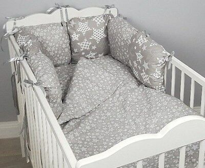 8 pc cot /cot bed bedding sets PILLOW BUMPER + CASES grey small stars  white