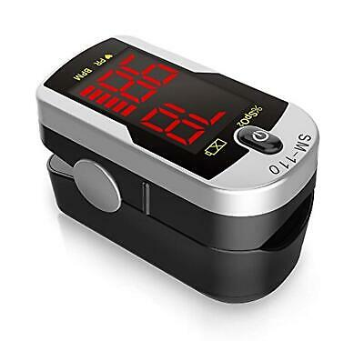 Deluxe SM-110 Two Way Display Finger Pulse Oximeter with Carry Case and Neck/Wri