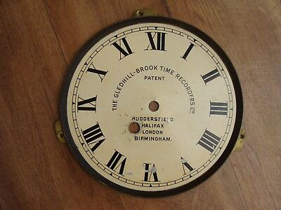The Gledhill-Brook  Time Recorders ltd Clocking In Machine Clock Face For Spares