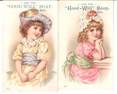 Lot: 2 Antique Trade Cards Good-Will Soap Beautiful Girls