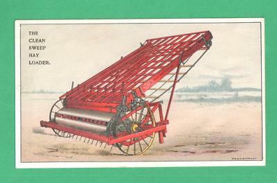 Scarce Antique Farm Trade Card The Clean Sweep Hay Loader Sandwich, Illinois