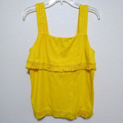 J Crew Factory - Womens S - Yellow Eyelet Lace Fringe Tank Top