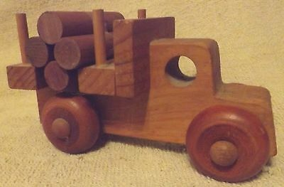Vintage Woodware--Hand Carved Wood Antique Logging Truck--Nice--Great Patina