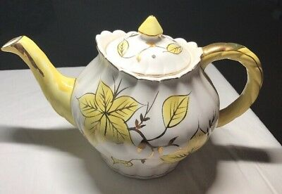 Royal Sealy Yellow &Gd Hand Painted Tea Pot