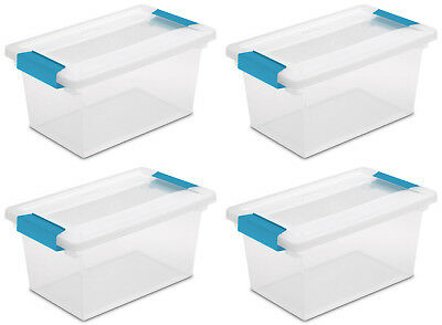 Sterilite 19628604 Medium Clip Clear Storage Tote Container - 4 Pack (Open Box)