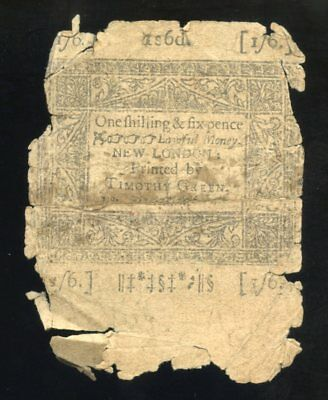 1776 fragile remains of a Timothy Green 1s 6d CONNECTICUT Currency Note