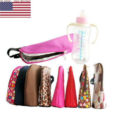 US HOT Insulated Baby Bottle Cooler Holder Carrier Boxes Thermal Bag + Strap DS