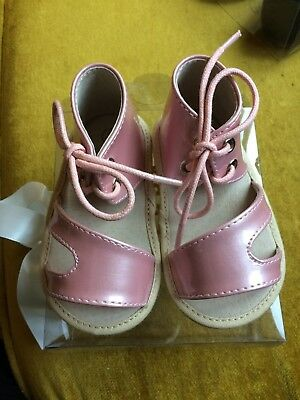 e14a719648 ZEEBRA NIB Pink Pantent Leather Toddler First Sandal Suede Sole Size 1 And 3