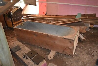 Beautiful Antique Coffin Style Tin Bathtub with Wooden Box