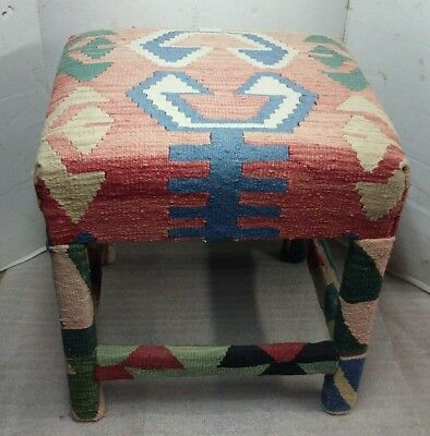 Vintage Repurposed Southwest Woven Throw Covered Footstool Stool/Bench