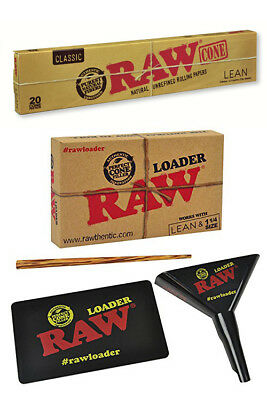 RAW Classic Lean Size Pre Rolled Cones - 20 Cones/Pack + Lean Cone Loader Kit