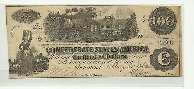 T-39 PF-13 $100 Confederate Paper Money 1862 - With interest paid stamps on back