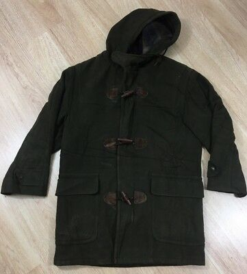 Vintage LL Bean Wool Coat Men's Size Small Olive Green Made In USA