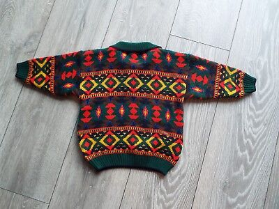 Boys 5 years long sleeve jumper  by M&S In Autumn colours geometric pattern