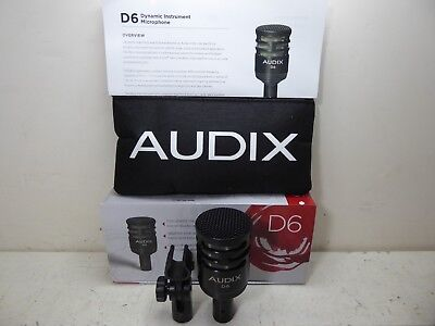 Audix D6 Dynamic Instrument Microphone Bass Kick Drum Cardioid Microphone look !