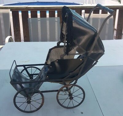 """Rare 19Th Century Baby Doll Carriage Iron W/rubber Over The Wheel 23 """"l X 24"""" H"""