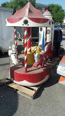 3 Horse Coin Op  Carousel Kiddie Ride-No Key-Pick Up Only