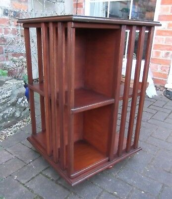 Edwardian Style Revolving Bookcase~Eight Book Shelf Sections~Ribbed Uprights
