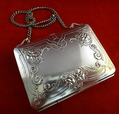 "German Silver Women's Compact Purse w/Leather Separators. 3 ½"" x 2 ½"". 1890-1910"