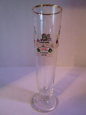 "Lindemans 8.25"" Tall Fluted Beer Glass Gold Rimmed Peche-Framboise-Kriek-Pomme"