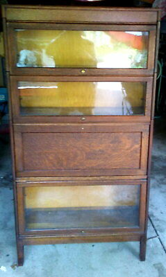 Vintage Grm 4 Pc Section Barrister Stacking Bookcase W Secretary Desk Section