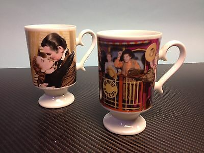 Lot of 2 1967 MGM Pedestal Coffee Mugs-Go West & Gone With The Wind *Ships Free*