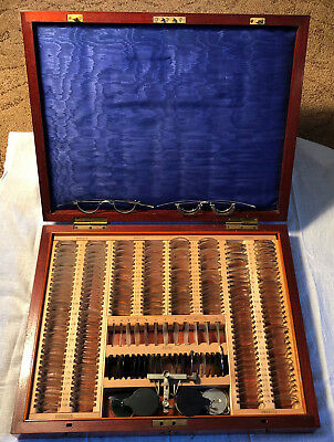 Antique Cased Opticians Trial Lens Set with Trial Frame by Curry & Paxton London