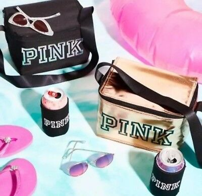 d6125840d7506 VICTORIA'S SECRET PINK 2018 Mini Cooler and Coozie BLACK Or ROSE GOLD NWT