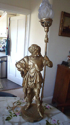 Antique Gilded Metal Figural Lamp with Flame Shade 100cms