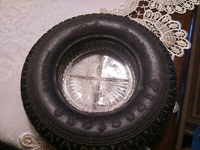 vintage firestone tire ashtray 600-18 high speed gum dipped balloon tire