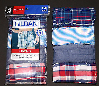 Gildan Men's Premium Cotton / Polyester Plaid Boxers 4-Pack - S-Xl  - Brand New